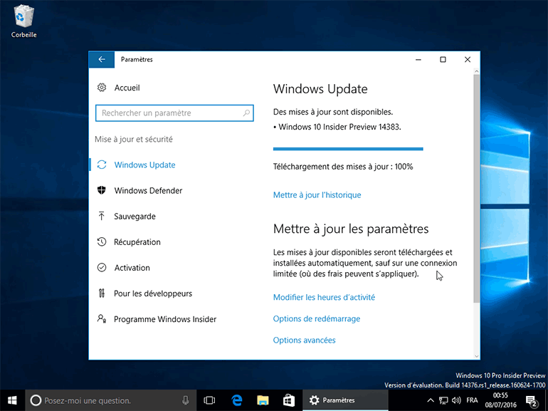 Windows 10 Build 14383 : une version de test sans watermark avant la RTM