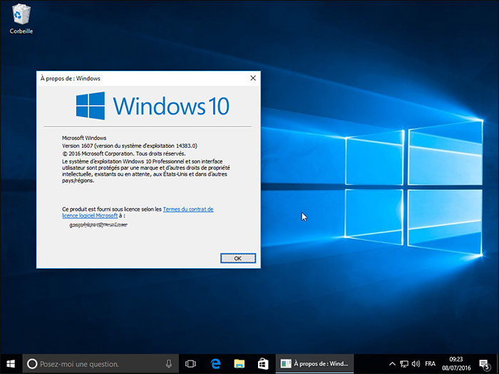 Bureau Windows 10 14383