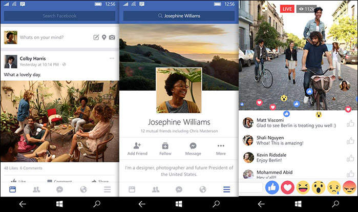 App Facebook sur Windows 10 mobile