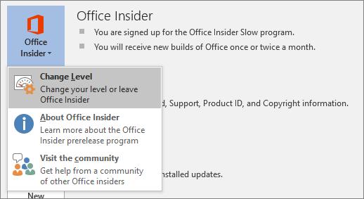 Niveaux Insider Office