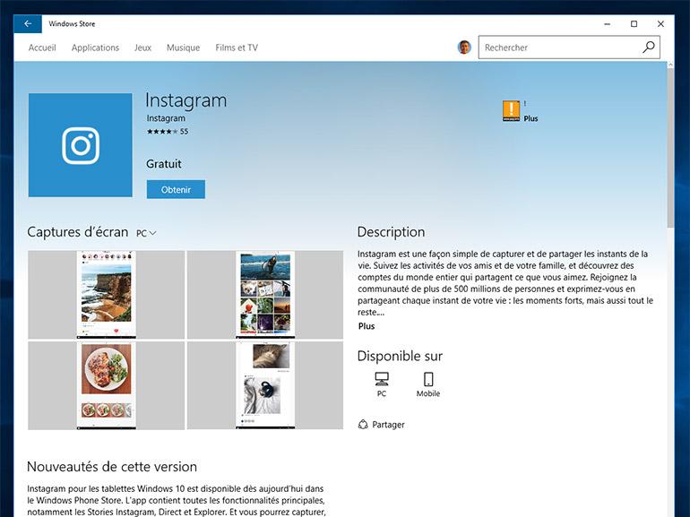 Instagram : une application pour les PC Windows 10 à télécharger