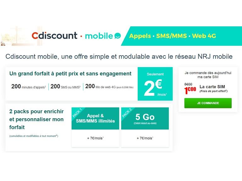 CDiscount lance une offre mobile à 2 euros plus fournie que celle de Free
