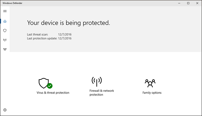 Nouvel écran Windows Defender