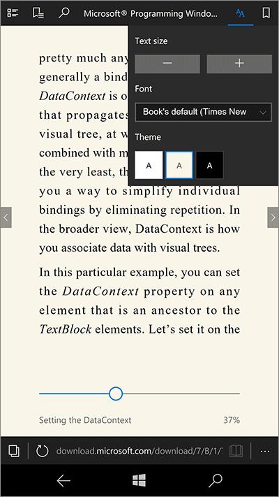 Ebook dans Edge pour Windows 10 mobile