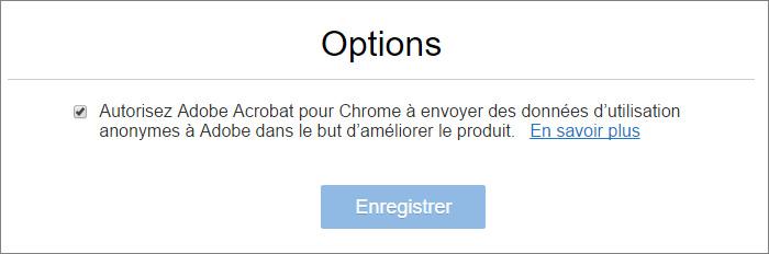 Télémétrie extension adobe Acrobat dans Chrome