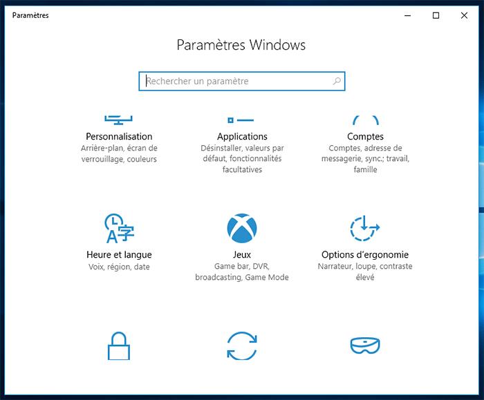 Section jeux Windows 10