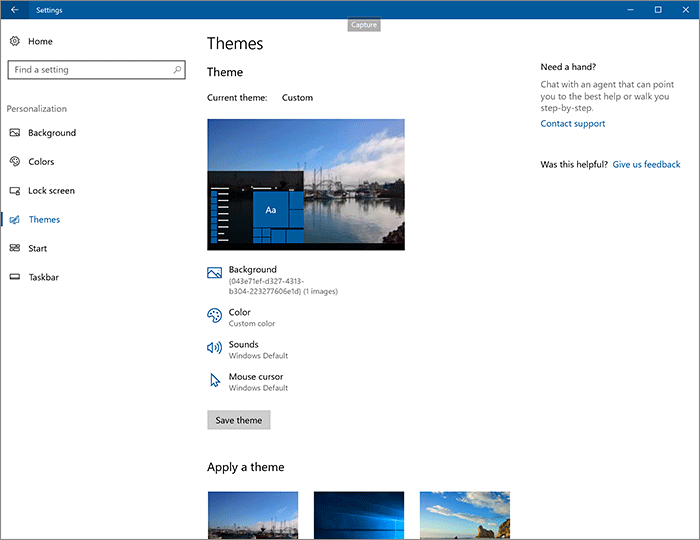 Thèmes Windows 10