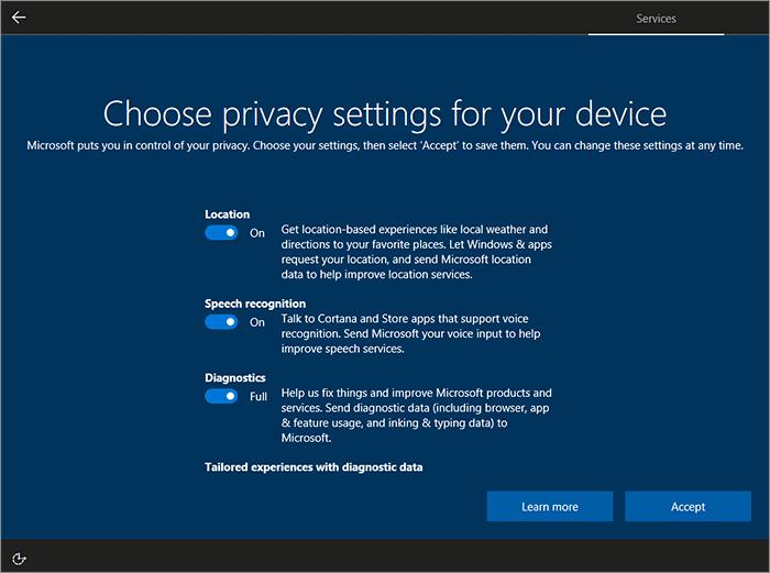 Options vie privée