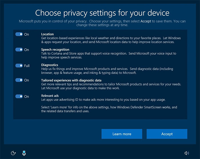 gestion de la confidentialite Windows 10