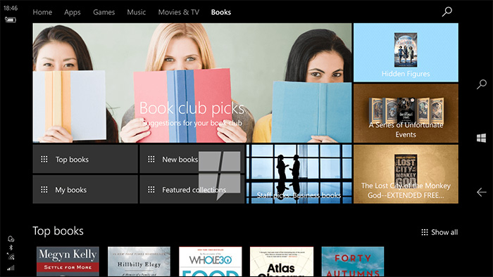Ebooks dans le Windows Store