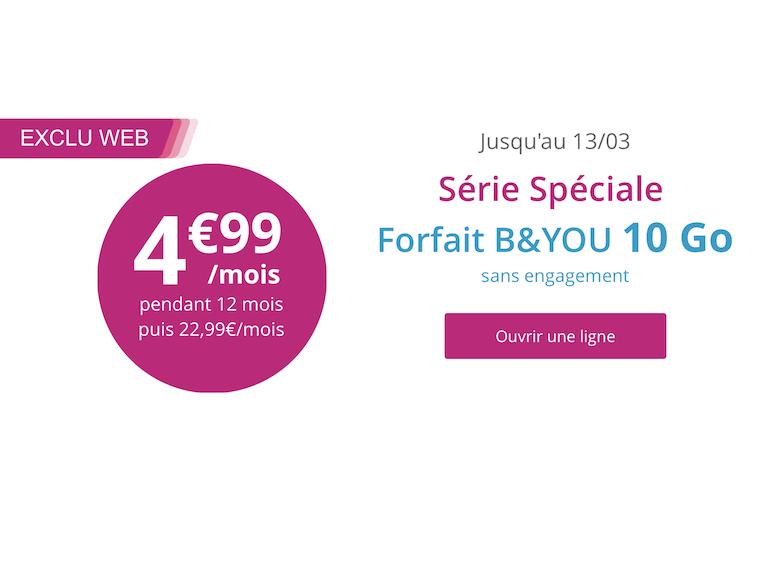Bouygues Telecom : dernier jour pour profiter du forfait 10 Go à 4,99€ au lieu de 22,99€