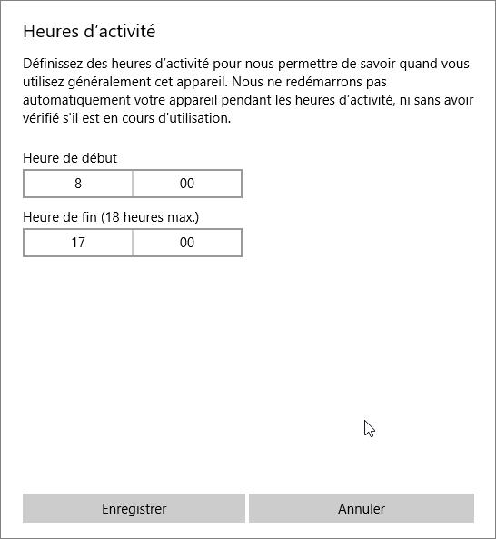 Heures activité Windows 10