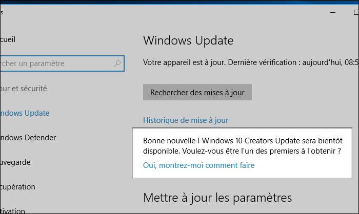 Invitation à tester Creators Update