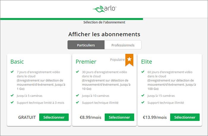 Offres abonnement Arlo sur le site de Netgear