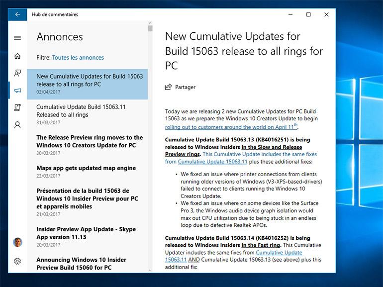 Windows 10 Creators Update : ajustements de dernière minute
