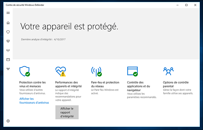 Centre de sécurité Windows Defender