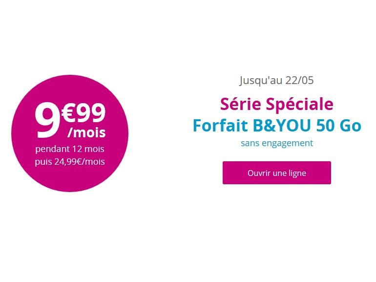 Le forfait Bouygues Telecom 50 Go à 10 € prendra fin le 22 mai prochain