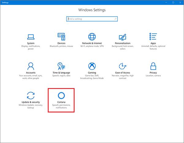 Icône Cortana dans les paramètres