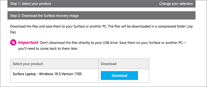 Image système Windows 10 S