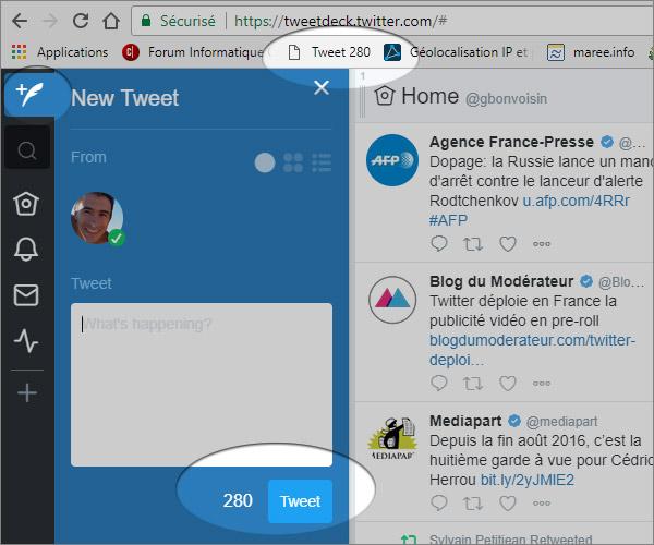 Tweetdeck avec 280 caractères