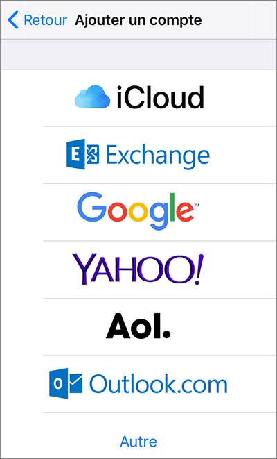 Configuration des comptes