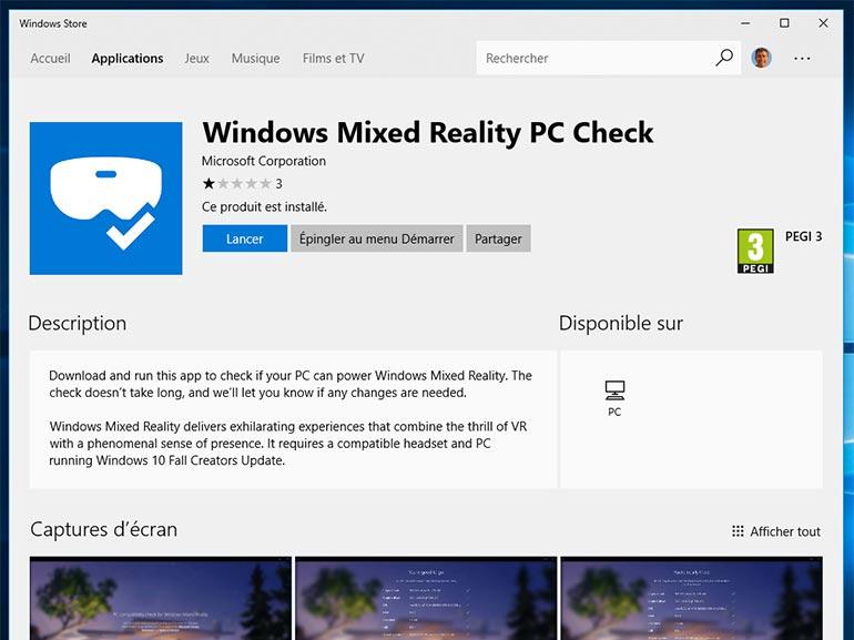 Windows 10 Réalité mixte : une appli pour vérifier la compatibilité sur PC