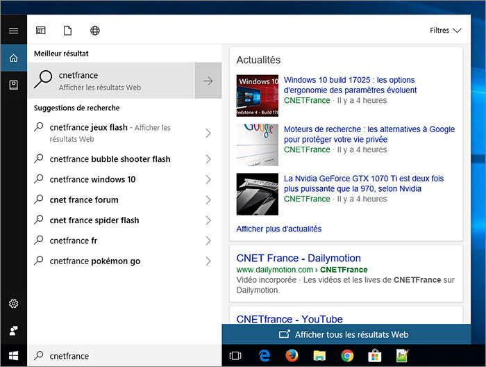 Recherche Cortana