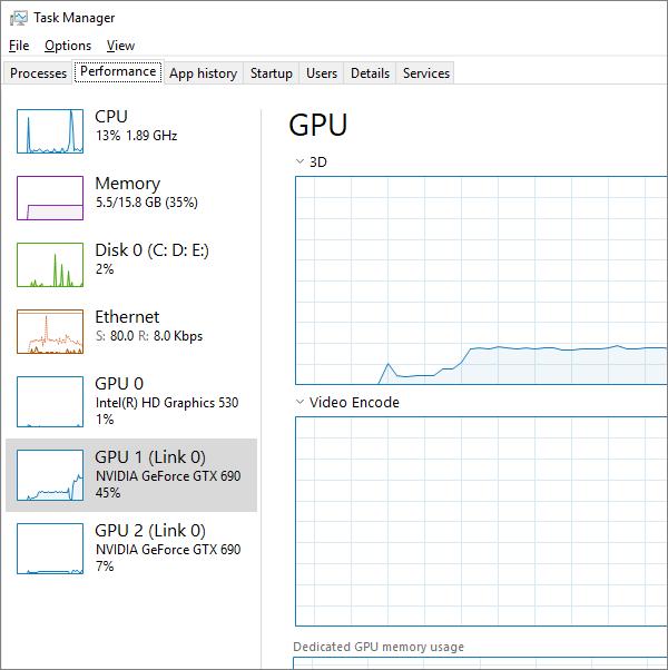 GPU dans le gestionnaire