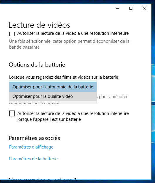 Optimisation de la batterie