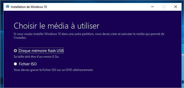 Fichiers ISO ou USB Windows 10