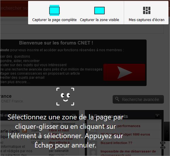 Capture d'écran avec Firefox Quantum