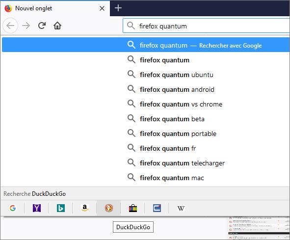 Recherche avec Firefox Quantum
