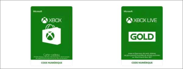 Carte cadeau Xbox Live