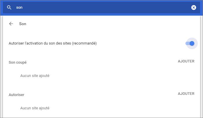 Paramètre du son Chrome
