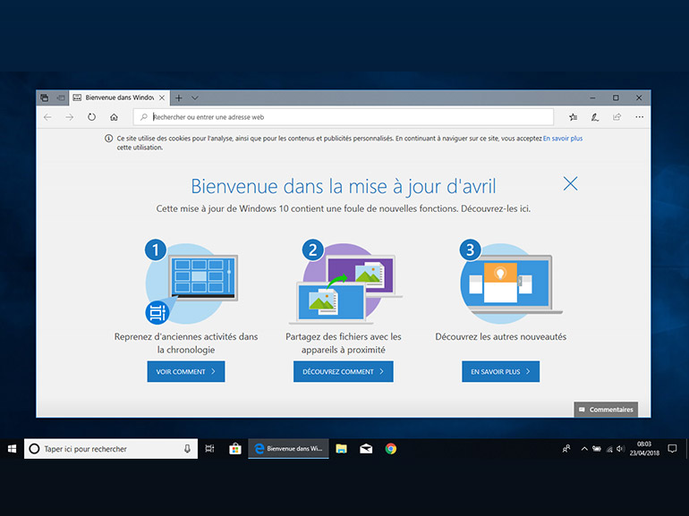 Windows 10 1803 : appelez-la simplement