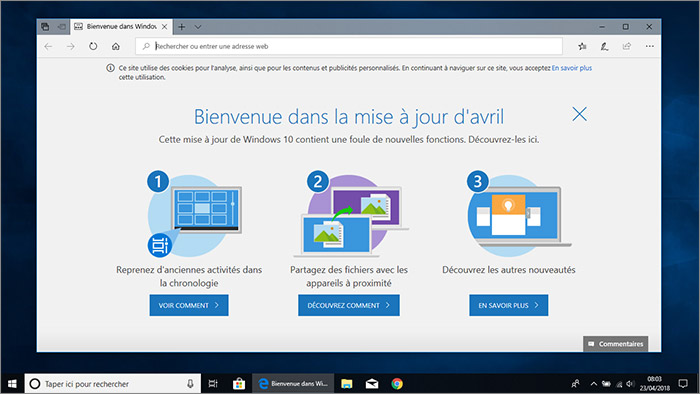 Ecran Windows 10 avril 2018
