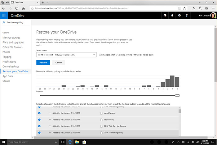 Restauration de fichiers OneDrive