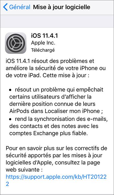 MAJ iOS 11.4.1