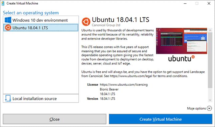 Ubuntu dans Windows 10