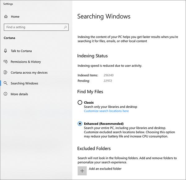 Paramètres de recherche Cortana