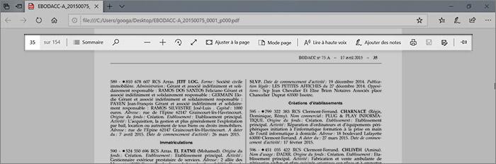 Barre de contrôle PDF
