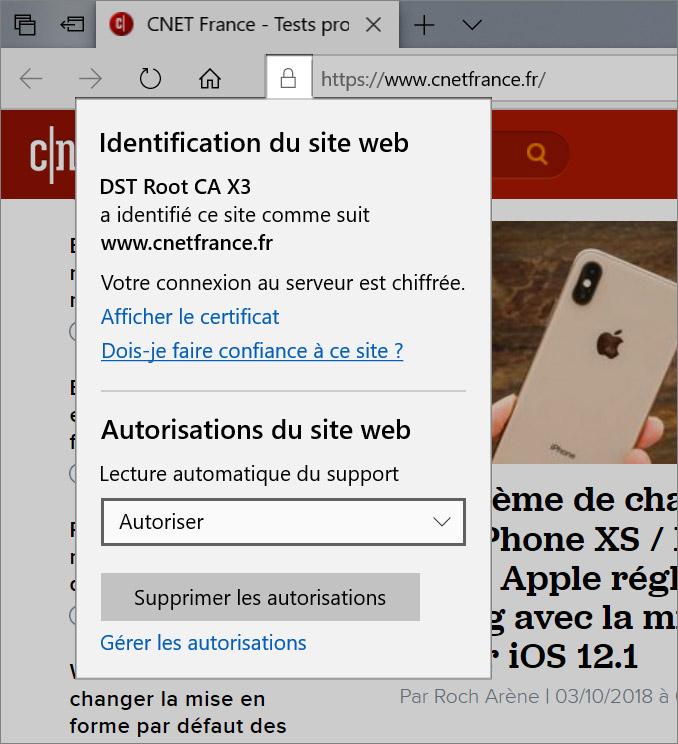 Permissions de sites web