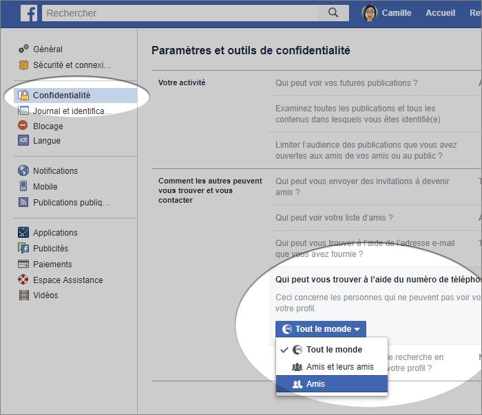 Annuaire inversé Facebook