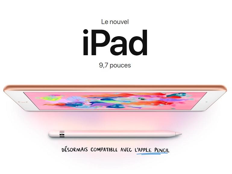 Conférence Apple : un nouvel iPad compatible avec l'Apple Pencil à partir de 359€