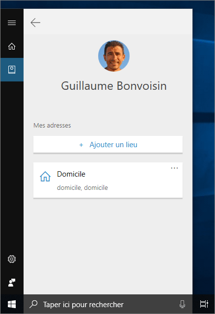 Profil dans Cortana