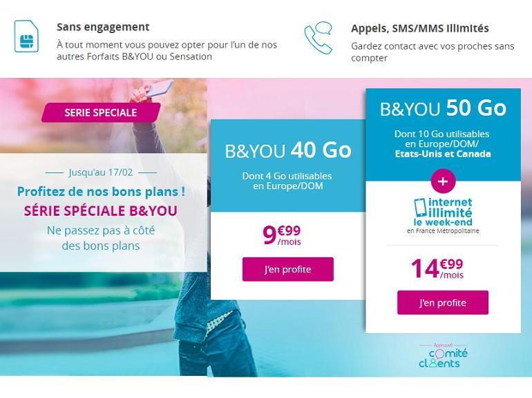 Bouygues Telecom / B&You : dernier jour pour profiter du forfait 50 Go à 14,99€ avec Internet illimité le week-end