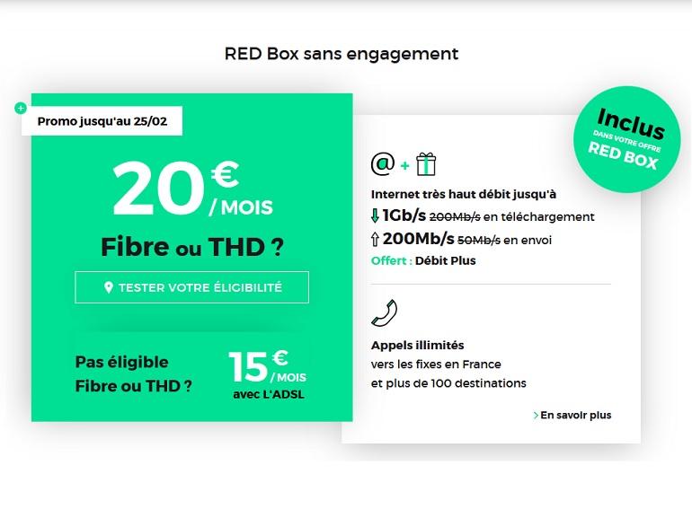 La promo RED by SFR sur la box Internet fibre 1 Gb/s à 20€ prendra fin ce soir
