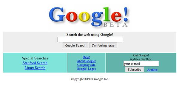 Interface google 1998