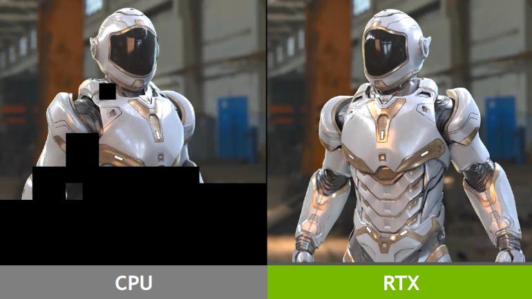 Comparaison CPU vs GPU Geforce RTX sur un rendu en ray tracing