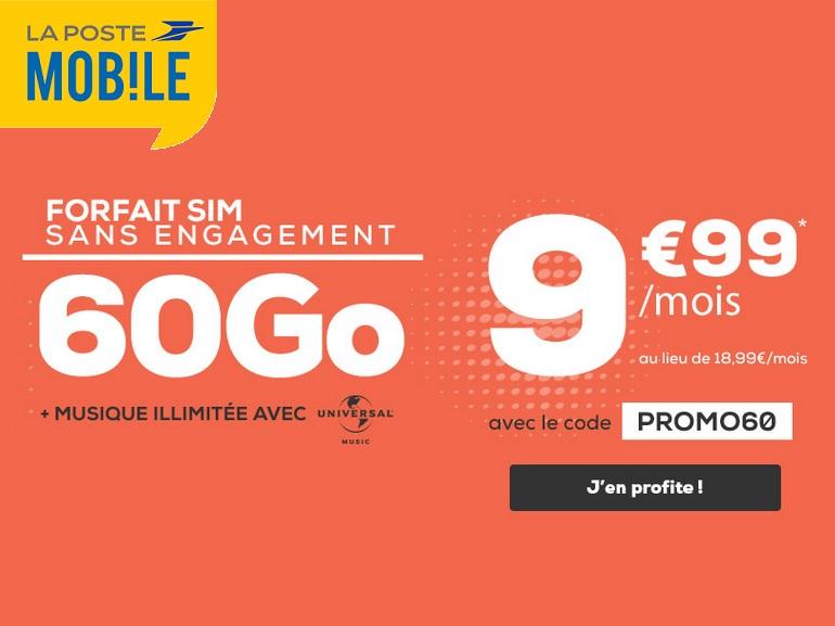 La Poste mobile : le forfait 60 Go est à 9,99 euros, sans engagement
